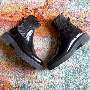 Zara Patent Sock Top Leather Flat Ankle Booties 41